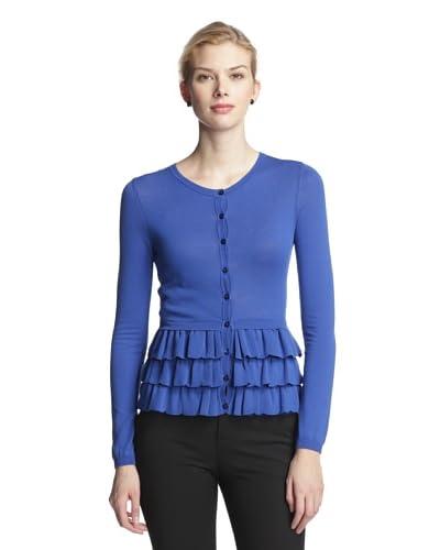 RED Valentino Women's Ruffle Cardigan  [Royal Blue]