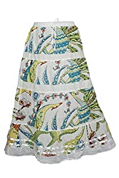 Indiatrendzs Long Skirts Women's Printed White Lacework A-Line Skirt