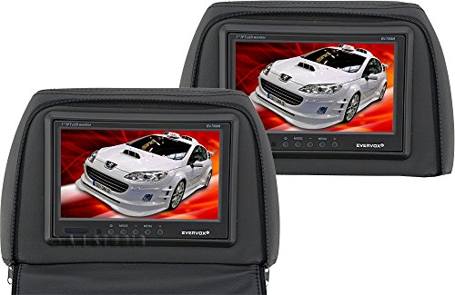 "Evervox Ev-7599H Black 7"" Dual Headrest Monitors With Zippered Pillow"