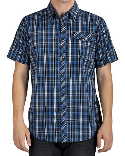 Micros Men's Blue Moon Short Sleeve Plaid Shirt