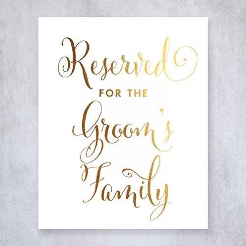 Reserved for Groom's Family Gold Foil Sign Wedding Reception Signage 8 inches x 10 inches E11