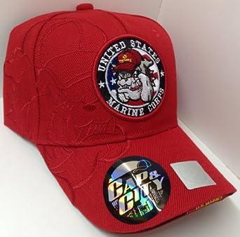 Red USMC United States Marines Corps Hat Cap Bulldog Mascot