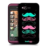 Head Case Designs Pink and Blue Moustaches Hard Back Case Cover for HTC Rhyme