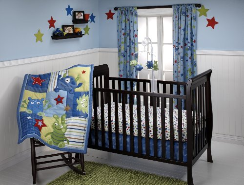 Little Bedding 3 Crib Piece Set, Monster Babies