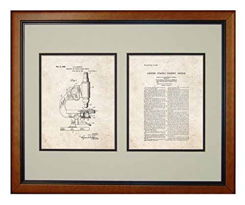 "Microscope And Counting Chamber Patent Art Old Look Print In A Honey Glazed Wood Frame (16"" X 20"")"