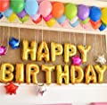 """Mcolour Balloon 16 Inch Golden """"HAPPY BIRTHDAY"""" Helium Foil Balloons for Party Supply"""