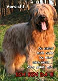 Türschild FunSchild SE357 DIN A4 aus hochwertigem Alu-Dibond beschriftet sehr stabil ACHTUNG Hund Briard