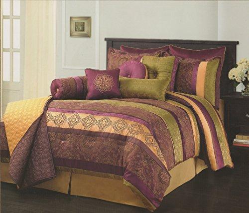 Sunham Leilani 12Pc Queen Comforter Set - Purple, Gold Green front-637729