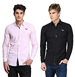BRAVEZI Men's Pink & Black Solid Casual Slim Fit Shirt