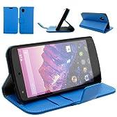 aLLreli【Nexus6ケース】【Google Nexus 6 革ケース】手帳財布型・ブルー