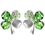 Four Leaf Clover Heart Shaped Swarovski Elements Crystal Rhodium Plated Stud Earrings
