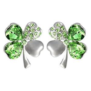 Four Leaf Clover Heart Shaped Swarovski Elements Crystal Stud Earrings - Green