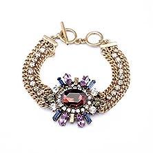 buy Kaariag Punkin™ Golden Chain Rhinestone Statement Fashion Bracelet