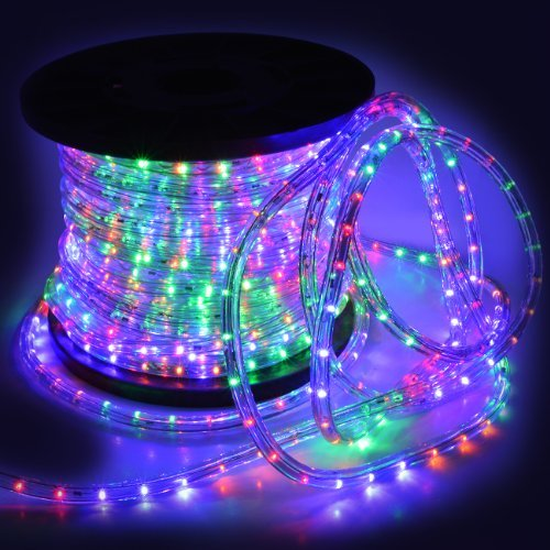 Flexible 150' Led Crystal Clear Pvc Tubing Rope Light Indoor/Outdoor Boat Decorative Party Christmas Holiday Business Restaurant Light Kit 110V/60Hz Customizable Length (Rgb)