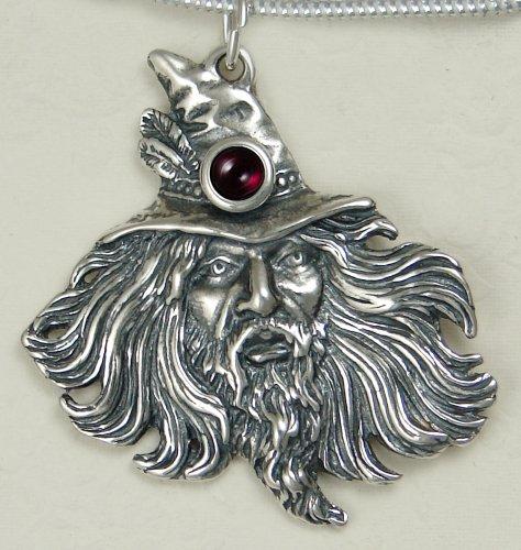 Sterling Silver Wizard by Fantasy Artist Julie Guthrie Accented with Genuine Garnet...Amazing Detail!