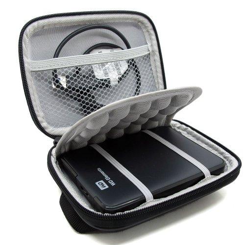 Stoßsichere schwarze Schutzhülle / Hardcase/Tasche / Festplattentasche für 2,5″ WD Western Digital Elements External My Passport Essential HDD tragbare, externe Festplatte