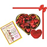 Skylofts Stylish Heart Chocolate Box With Cute Heart Soft Toy And Anniversary Wish Card - B01ADL574Y