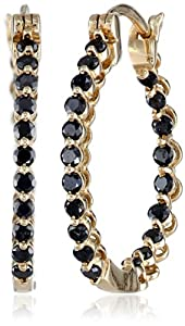 10k Yellow Gold Black Diamond Hoop Earrings (1 cttw)