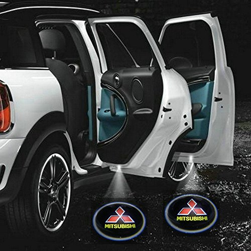 2 X 2014 Latest 6th Gen car door Shadow laser projector logo LED light for mitsubishi all series Pajero lancer evolution 3000gt outlander Sport eclipse l200 asx RVR evo montero (Mitsubishi Welcome Lights compare prices)