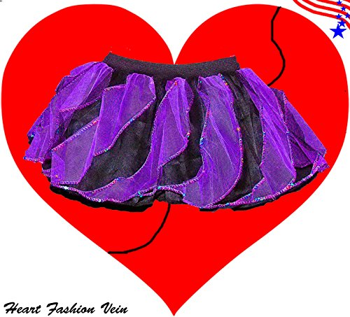 Purple Black Sequins Twister Two Tone Tutu Skirt Halloween Bumble Bee Queen