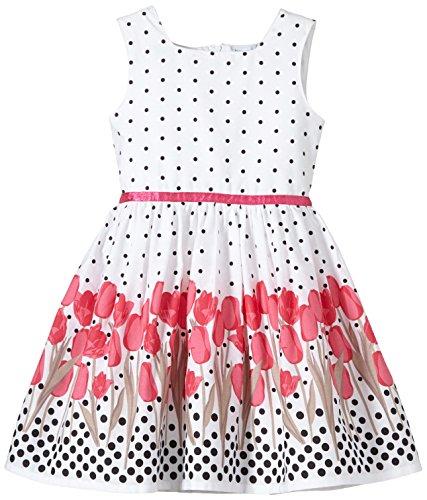 Happy Girls Mädchen Kleid mit süßen Polka Dots und Tulpen Print, Gr. 152, Rosa (pink 36)