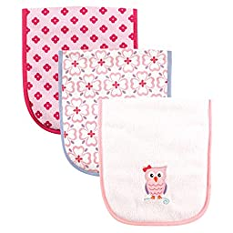 Luvable Friends 3 Piece Burp Cloth with Fiber Filling, Owl