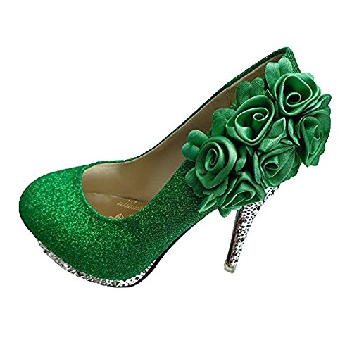 WeenFashion Women's Shiny Pumps with Six Flowers Floriation, Green, 8.5 B(M) US