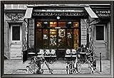 Paris – Poster – Cafe Bar du-Bresil + Wechselrahmen der Marke Shinsuke® Maxi aus edlem Aluminium (ALU) Profil: 30mm schwarz