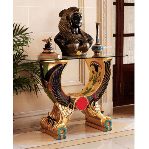 Cheap Ancient Egyptian Horus Sculpture Glass Console Foyer Table (WU71539)