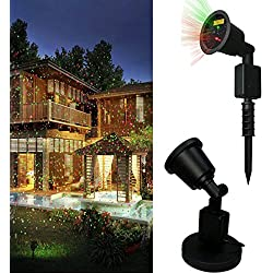 Christmas Laser Light,DRILLPRO Waterproof Red & Green Laser Light - Outdoor Waterproof Star Projector Landscape Projector, Holiday Landscape Light for Patio,Lawn,Garden and Holiday Decoration