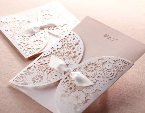 Delicate White Laser Cut Floral Wedding Invitation Cards for Party, Wedding, Birthday, Bridal Shower -- Set of 50 Pcs