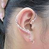 Gothic Punk Party Crystal Snake Cuff Earring 1pc