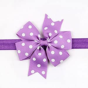 BELLAZAARA Girl Baby Ribbon Flower Purple and WhitePolka Dots Bow Headband Hair Band