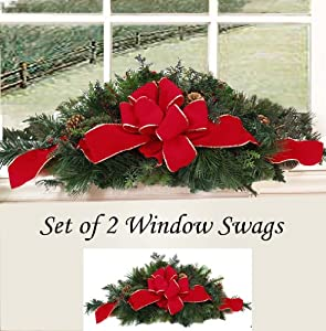 Amazon.com - Set of Two Christmas Window Swags with Red Velvet Ribbon