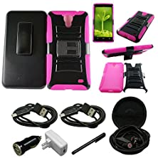 buy Mstechcorp - For Alcatel One Touch Pop Mega Lte/A995L - Super Armor Hybrid Double Layer Holster Belt Clip Kickstand Case (Full Body Armor) Protective Tough Case (Sealed In Mstechcorp Packaging) - Includes Includes [Car Charger] + [Wall Charger] + [Touch S