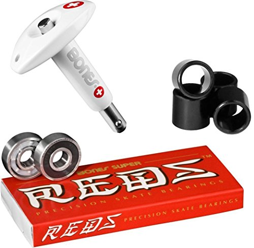 Bones Super Reds Bearings, 8 Pack set With Puller Tool & FREE Bones Spacers (Super Bones Reds compare prices)