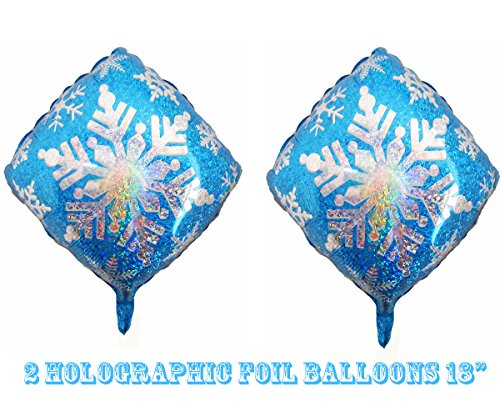"2 Holographic Blue Snowflake Foil Balloons 18"" (2 Balloons)"