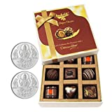 Chocholik Belgium Chocolates - 9pc Special Love Combo Wishes With 5gm X 2 Pure Silver Coins - Diwali Gifts