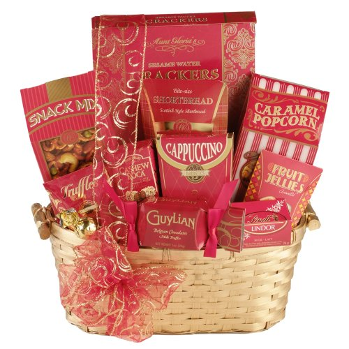 Lasting Impression Beige Gift Basket contains Guylian Chocolates, Lindt Lindor Truffles, Cappuccino Drink Mix and more