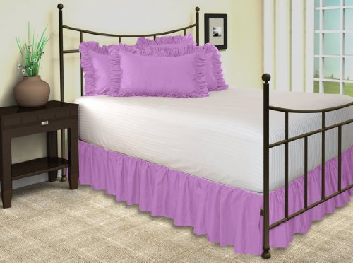 Queen Solid Ruffled Split Corners Bed Skirt In Lavender front-1027441