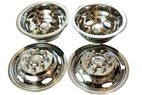 Pacific Dualies 43-1608 Polished 17 Inch 8 Lug Stainless Steel Wheel Simulator Kit for 2005-2014 Ford F350 Truck