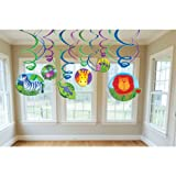 Jungle Animals Hanging Swirl Decorations (12pc)