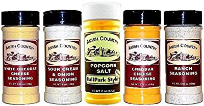 Amish Country Popcorn Pack of 5 Gourmet Popcorn Seasoning Variety Bundle Sampler Set White Cheddar Cheese, Sour Cream & Onion, Cheddar Cheese, & Ranch Includes One (1) 6-oz Ballpark Style Seasoning Salt
