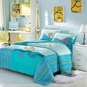 Yoyomall cute fish embroidery blue sea bedding for Fish bedding twin