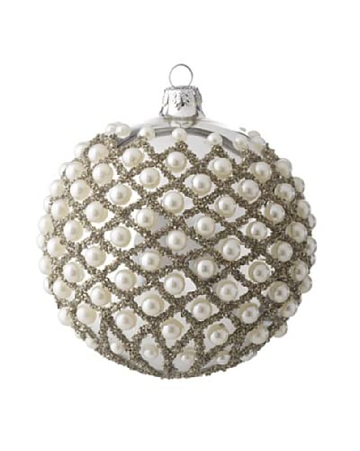 "Raz 4"" Pearl Ball Ornament, White/Silver"