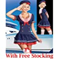 Forever Young Ladies Hello Miss Sailor Sea Fancy Dress Costume Outfit