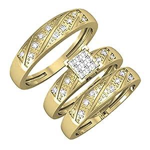0.28 Carat (ctw) 14K Yellow Gold Round Cut Diamond Men & Women's Trio Bridal Set 1/4 CT (Size 4.5)
