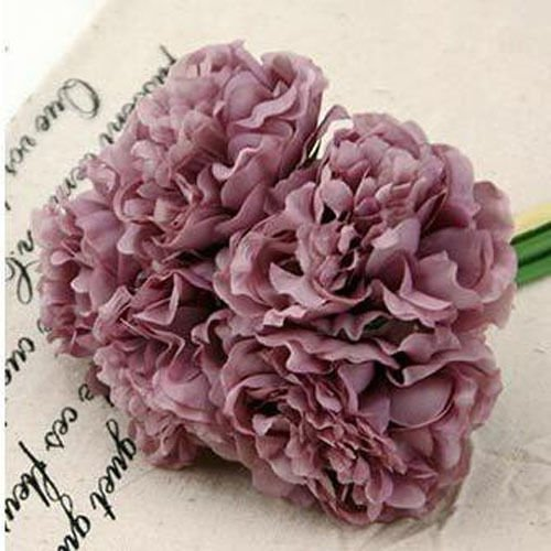 Purple Wedding Rose Peony Silk Flowers Bouquet Single Arrangements Artificial Decor (Single Aerosol Can Holder compare prices)