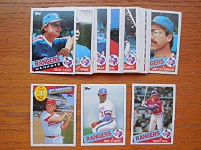 Texas Rangers 1985 Topps Baseball Team Set (30 Cards) AND GET A FREE WALTER JOHNSON 1909 T206 REPRINT CARD (Dave Stewart) (Buddy Bell) (Jeff Burroughs) (Pete O'Brian) (Mickey Rivers) (Dallas)