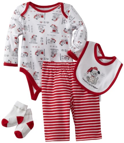 Vitamins Baby-Boys Newborn Santas Little Helper 4 Piece Creeper Pant Set, Red, 9 Months